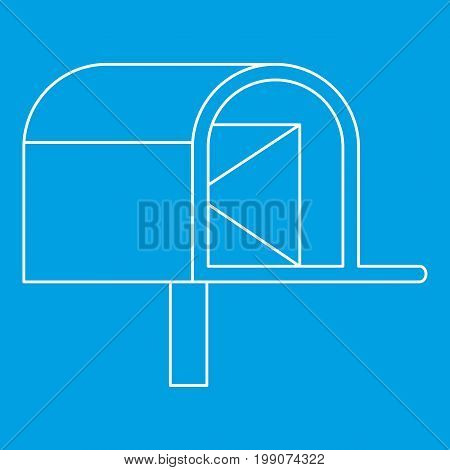 Mailbox with mail icon blue outline style isolated vector illustration. Thin line sign