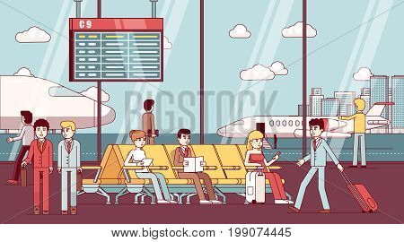 Business man and woman sitting in airport arrival waiting room or departure lounge with chairs. Terminal hall with big window airfield view on airplanes. Flat style thin line vector illustration.