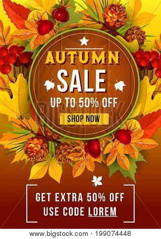 Autumn sale up to 50 percent discount off poster for September seasonal discount promo shopping. Vector design of forest tree leaf of maple, oak and birch, berry harvest of rowan and dog-rose