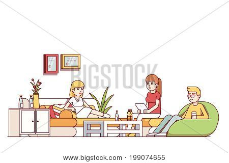 Young woman, man talking relaxing in home living room or office waiting lounge. Friends sitting drinking at dormitory hall with sofa, arm chair, coffee table. Flat style thin line vector illustration.