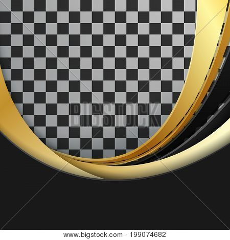 black and golden vector lines with copy space. Illustration with wavy design. Template for your design. Eps10