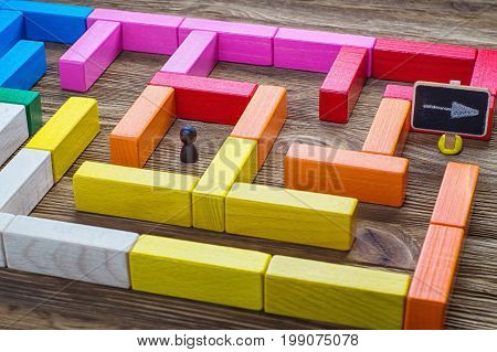 Man in the labyrinth the search for the exit. Labyrinth of colorful wooden blocks. The man in the maze. The concept of a business strategy analytics search for solutions the search output.