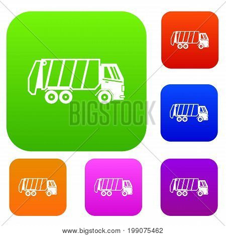 Garbage truck set icon in different colors isolated vector illustration. Premium collection