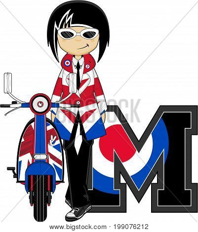 M is for Mod - Letter M Alphabet Learning Illustration