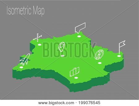 Map France isometric concept. 3d flat illustration of Map France.