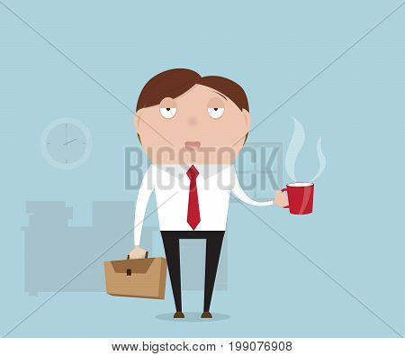 businessman sleepy with coffee in afternoon cartoon vector illustration