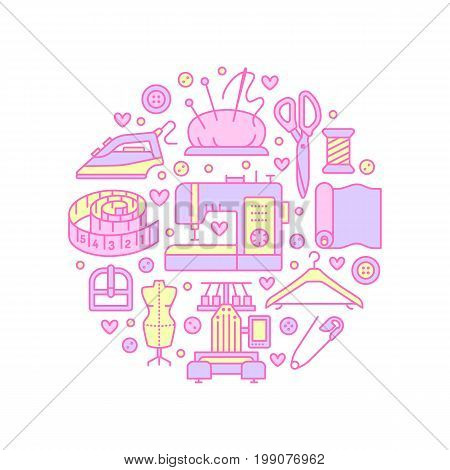 Clothing repair, alterations studio equipment banner illustration. Vector line icon tailor store services - dressmaking, clothes steaming, suit dress, garment sewing. Atelier colored circle template. poster