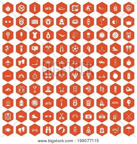 100 active life icons set in orange hexagon isolated vector illustration