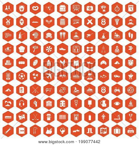 100 activity icons set in orange hexagon isolated vector illustration