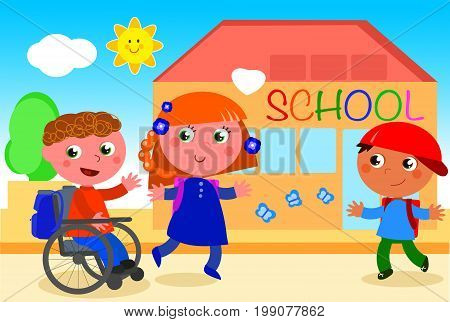 Boy in wheelchair going to school with friends. Digital illustration.