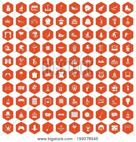 100 amusement icons set in orange hexagon isolated vector illustration