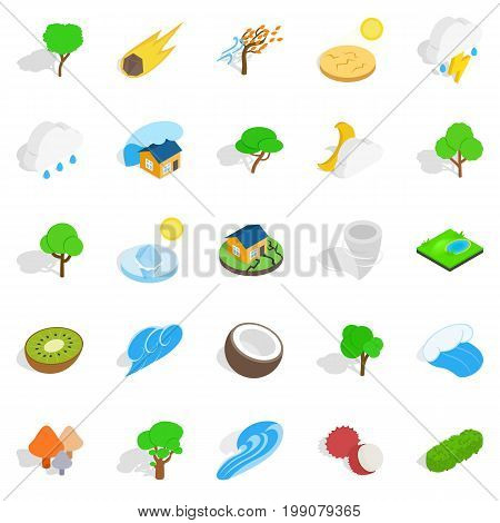 Riot of nature icons set. Isometric set of 25 riot of nature vector icons for web isolated on white background