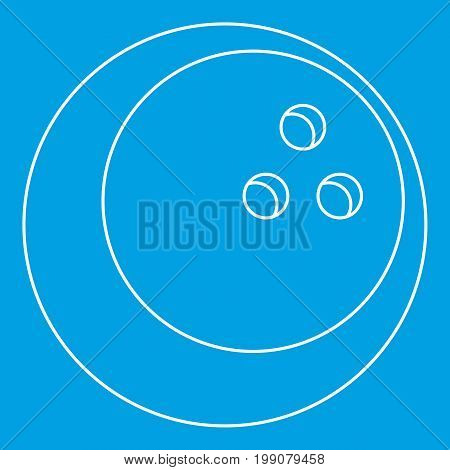 Ball for playing bowling icon blue outline style isolated vector illustration. Thin line sign