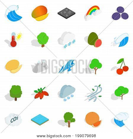 Live nature icons set. Isometric set of 25 live nature vector icons for web isolated on white background