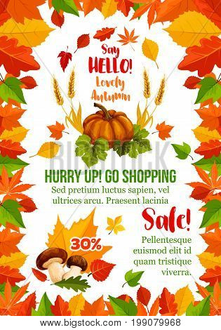 Autumn sale poster template with fall season leaf frame. Autumn harvest pumpkin vegetable, forest mushroom and wheat banner, edged with yellow and orange foliage, fall seasonal retail promotion design