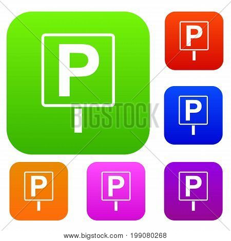 Parking sign set icon in different colors isolated vector illustration. Premium collection