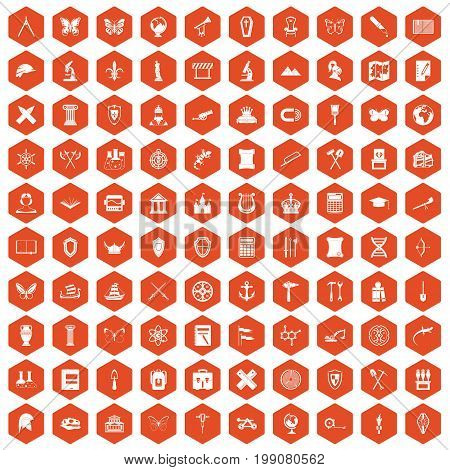 100 archeology icons set in orange hexagon isolated vector illustration