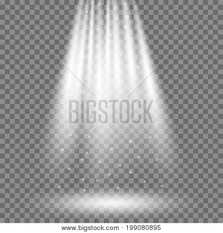 Vector white light effect rays. Vector projector beam and spotlight on transparent background.