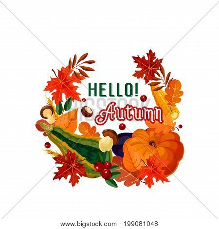 Hello autumn poster of fall leaf, vegetable and mushroom. Fall season harvest pumpkin and corn veggies, forest tree foliage, cep mushroom, wheat ear and cranberry for autumn nature themes design