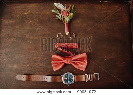 Watch, Boutonniere And Butterfly Tie