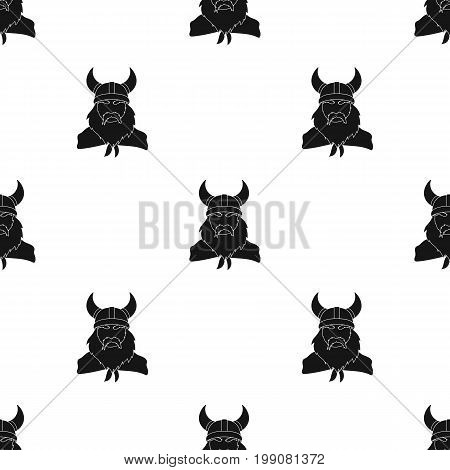 Viking icon in black design isolated on white background. Vikings symbol stock vector illustration.