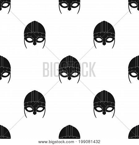 Viking helmet icon in black design isolated on white background. Vikings symbol stock vector illustration.