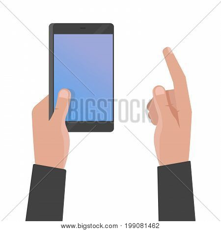 Hand Holding Phone And Touch Smartphone Screen Vector Illustration