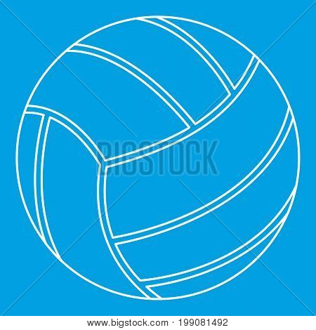 Volleyball ball icon blue outline style isolated vector illustration. Thin line sign