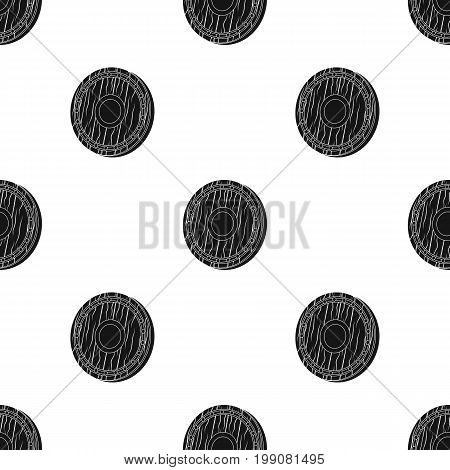 Viking shield icon in black design isolated on white background. Vikings symbol stock vector illustration.