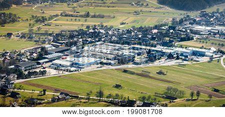 Begunje Slovenia - March 12 2017: Elan and Slatnar factory facilities in Slovenia where Sailboats Elan and Slatnar skis and sports equipement are manufactered.