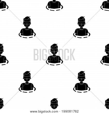 Rotation of player in the virtual reality icon in black style isolated on white background. Virtual reality symbol vector illustration.