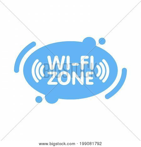 Free Wi-fi Zone Sign In Abstract Line Blue Background Vector Illustration