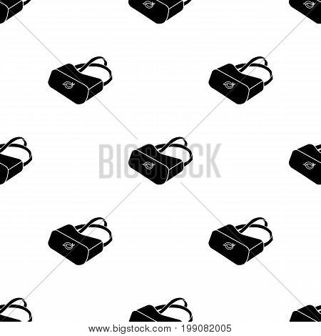 Virtual reality glasses icon in black style isolated on white background. Virtual reality symbol vector illustration.