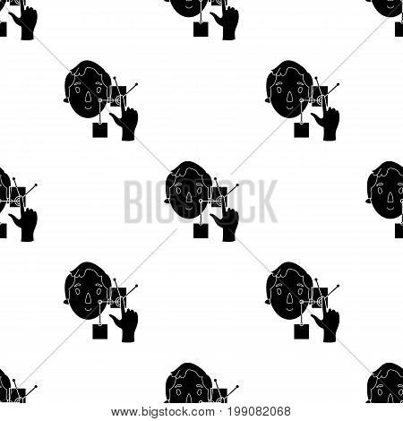 Man in the virtual reality icon in black style isolated on white background. Virtual reality symbol vector illustration.