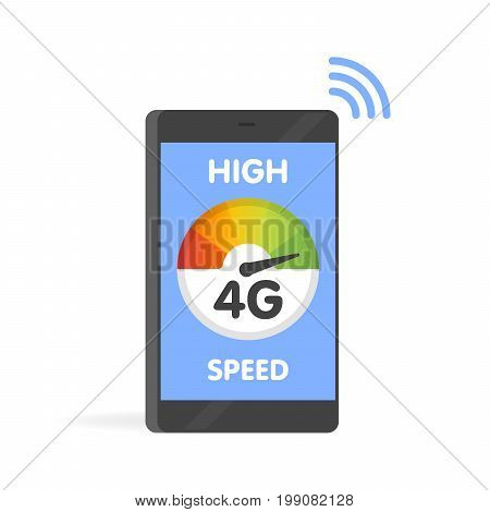 Phone Fast 4G Internet Technology. Smartphone Screen Vector Illustration
