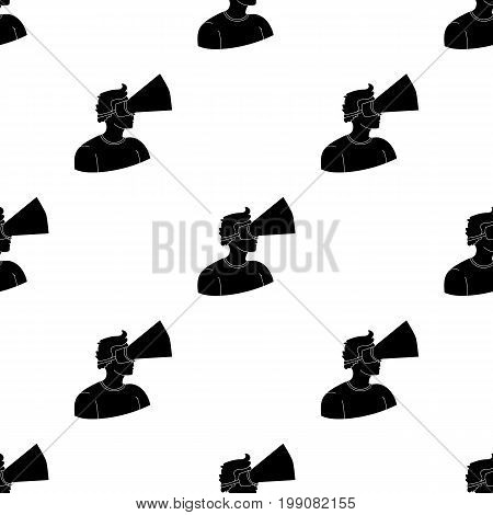 Player with virtual reality headblack icon in black style isolated on white background. Virtual reality symbol vector illustration.
