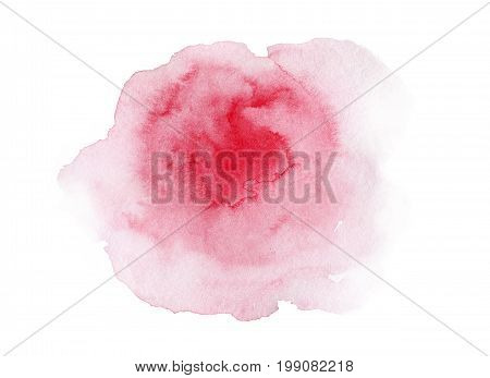 Hand painted pink watercolor decorative stain on white background