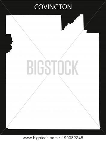 Covington County Map Of Alabama Usa Black Inverted Illustration
