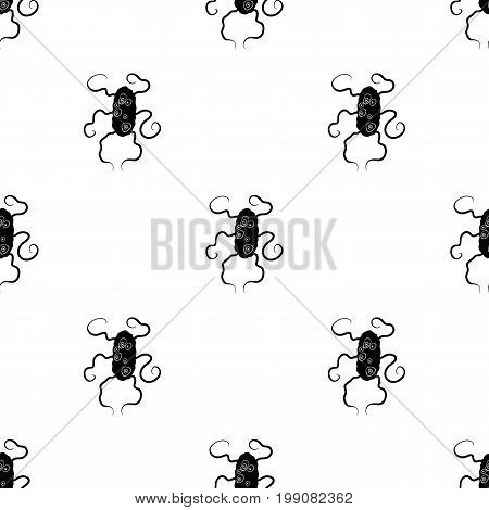 Red virus icon in black design isolated on white background. Viruses and bacteries symbol stock vector illustration.