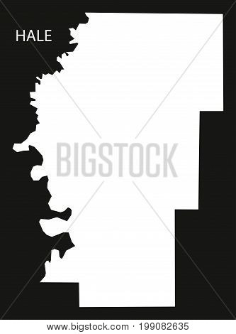 Hale County Map Of Alabama Usa Black Inverted Illustration