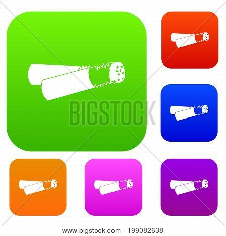 Cigarette butt set icon in different colors isolated vector illustration. Premium collection