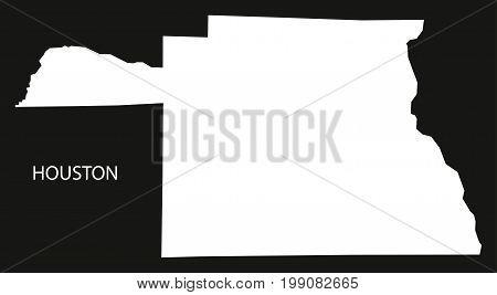 Houston County Map Of Alabama Usa Black Inverted Illustration