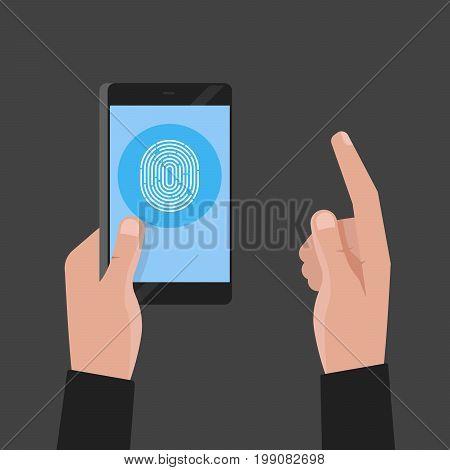 Hand Holding Phone. Fingerprint Pass Concept Vector Illustration