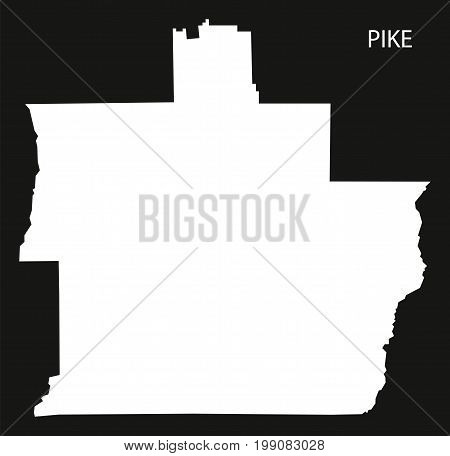 Pike County Map Of Alabama Usa Black Inverted Illustration