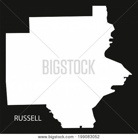 Russell County Map Of Alabama Usa Black Inverted Illustration