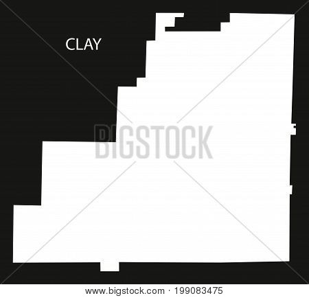 Clay County Map Of Alabama Usa Black Inverted Illustration
