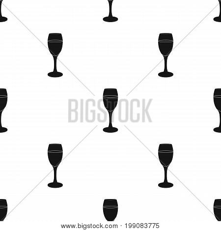 Glass of white wine icon in black design isolated on white background. Wine production symbol stock vector illustration.