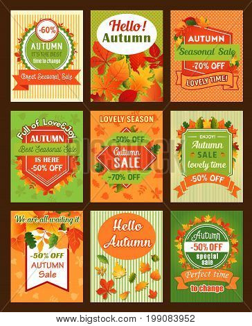 Autumn season sale retro banner set. Fall season special offer promotion badge, decorated with yellow maple leaf and red foliage of chestnut and oak tree, acorn and ribbon for autumn sale tag design