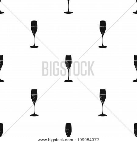 Glass of champagne icon in black design isolated on white background. Wine production symbol stock vector illustration.