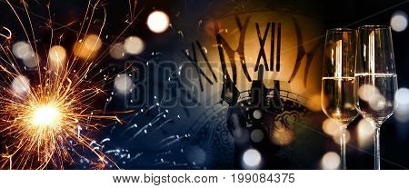 Sparkling background with a clock and champagne for new year greetings